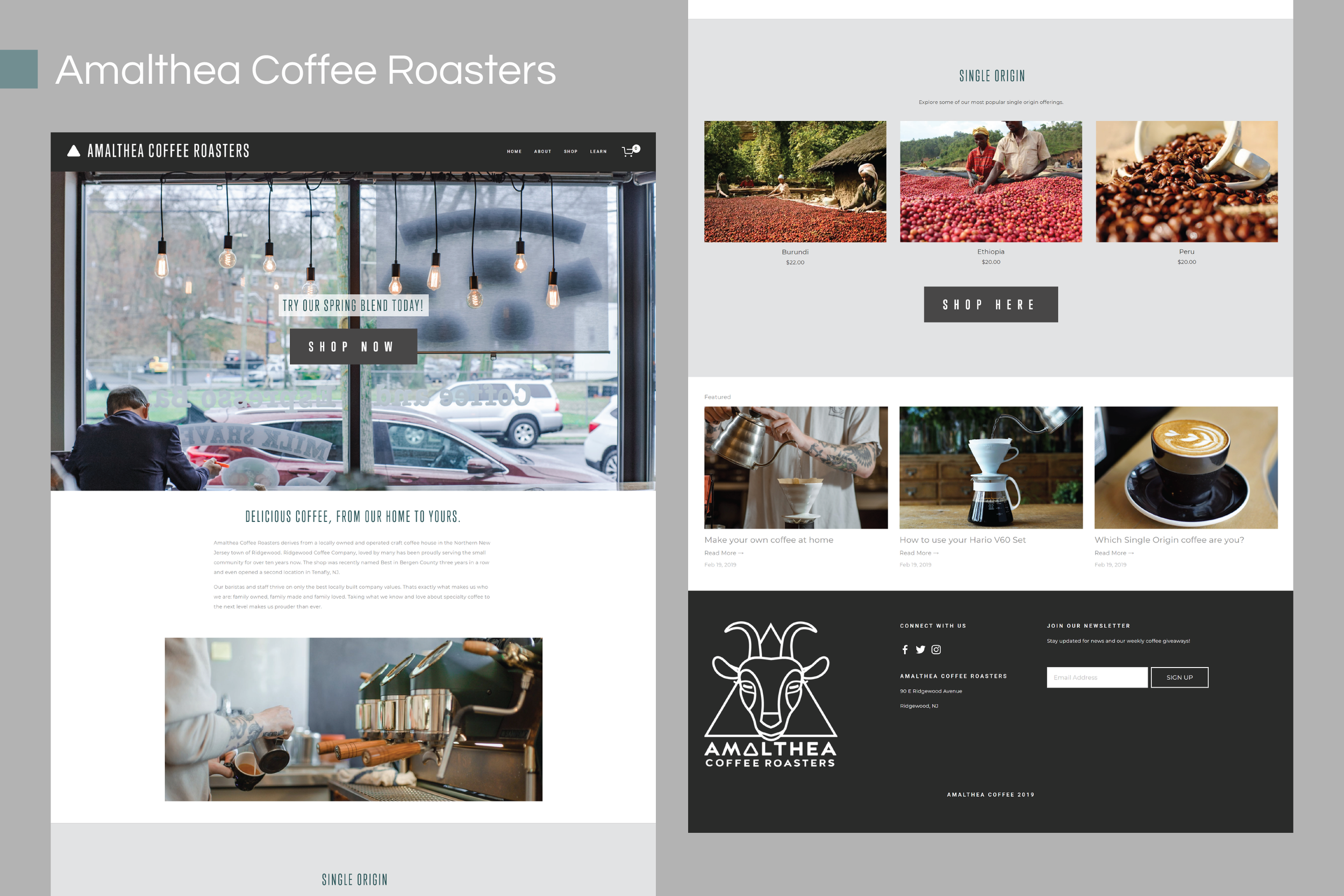 Amalthea coffee ecommerce site